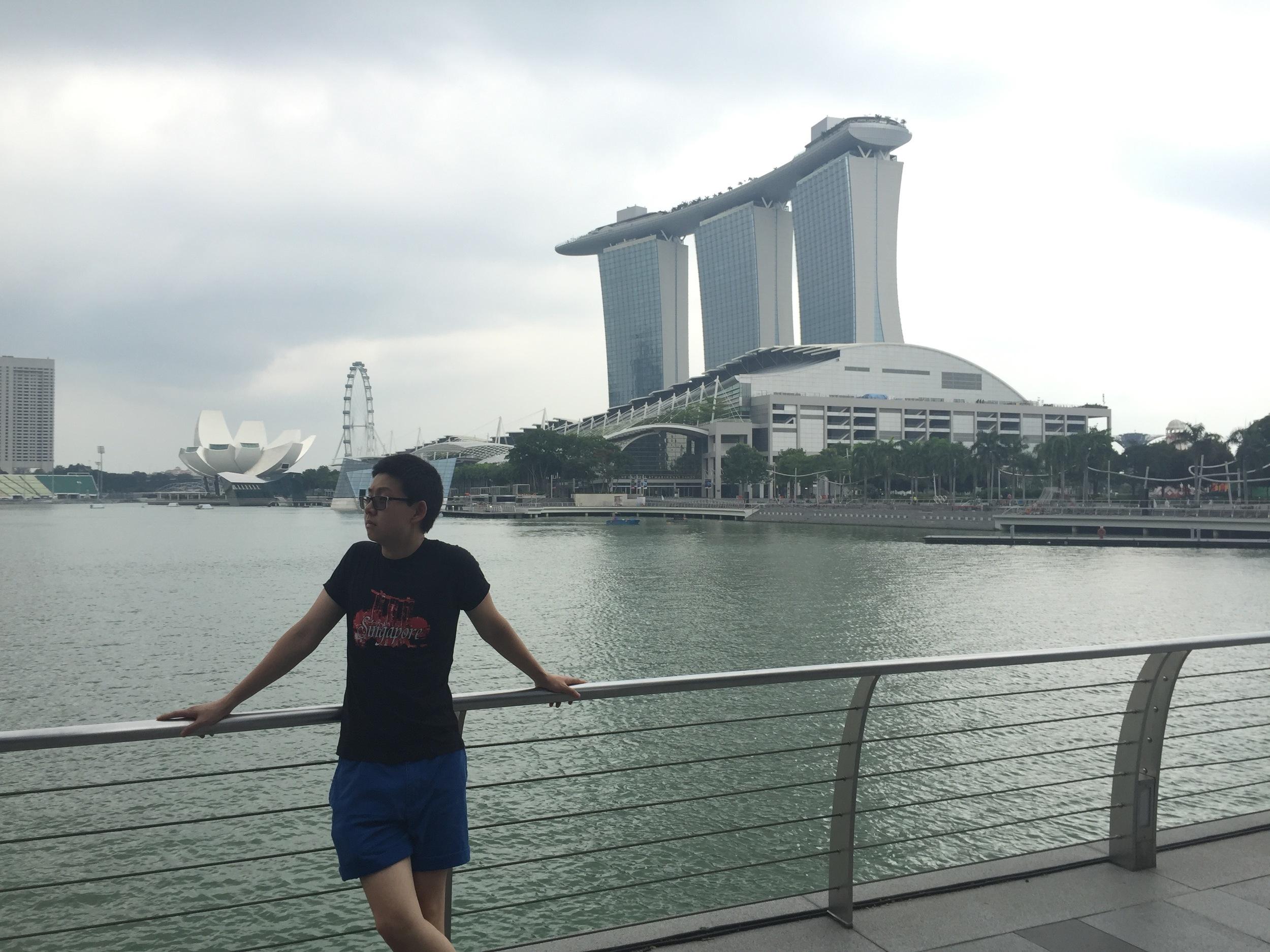 Dustin Zhao '19 chills by Marina Bay