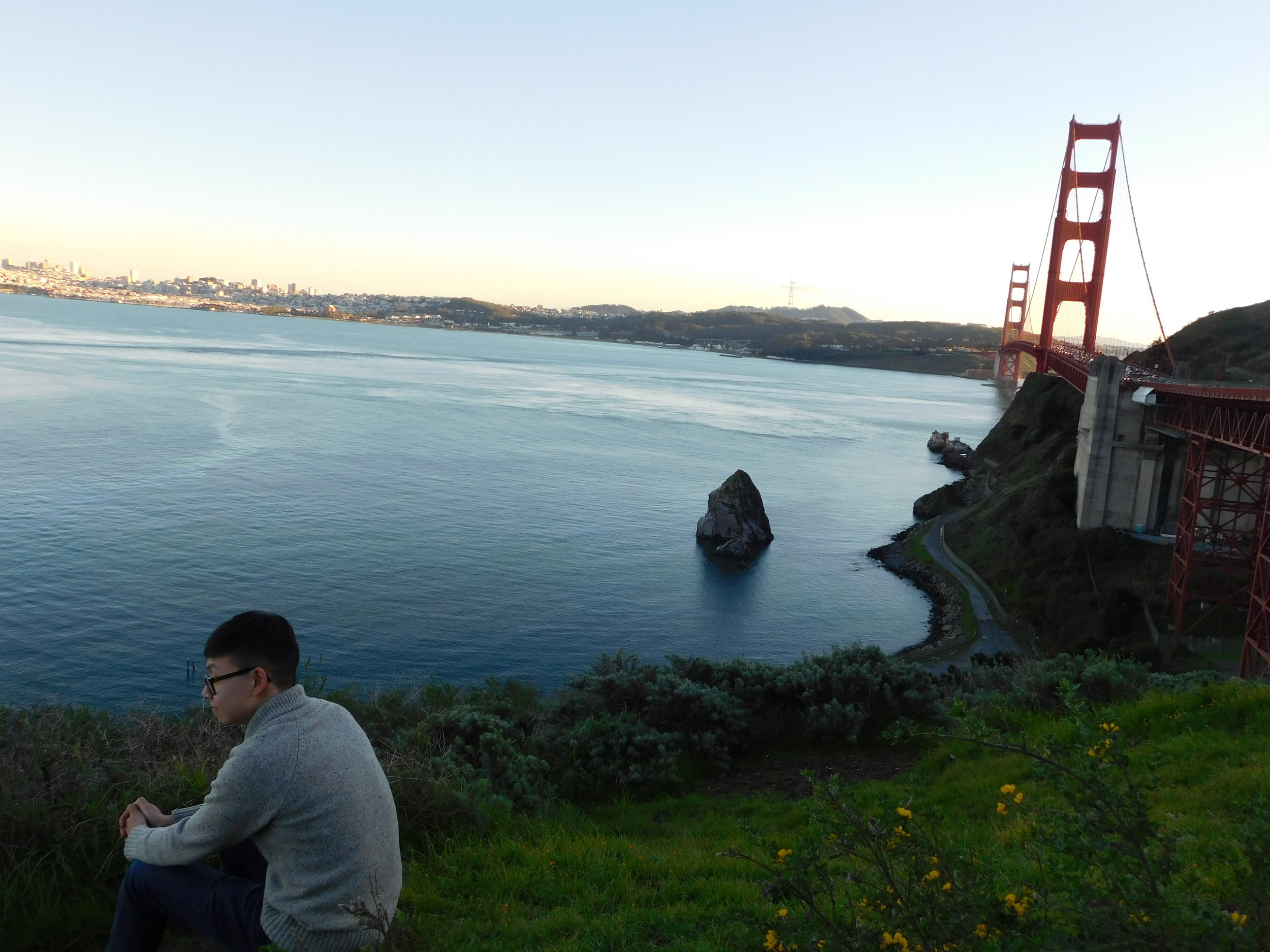 Dustin Zhao admiring the Bay water