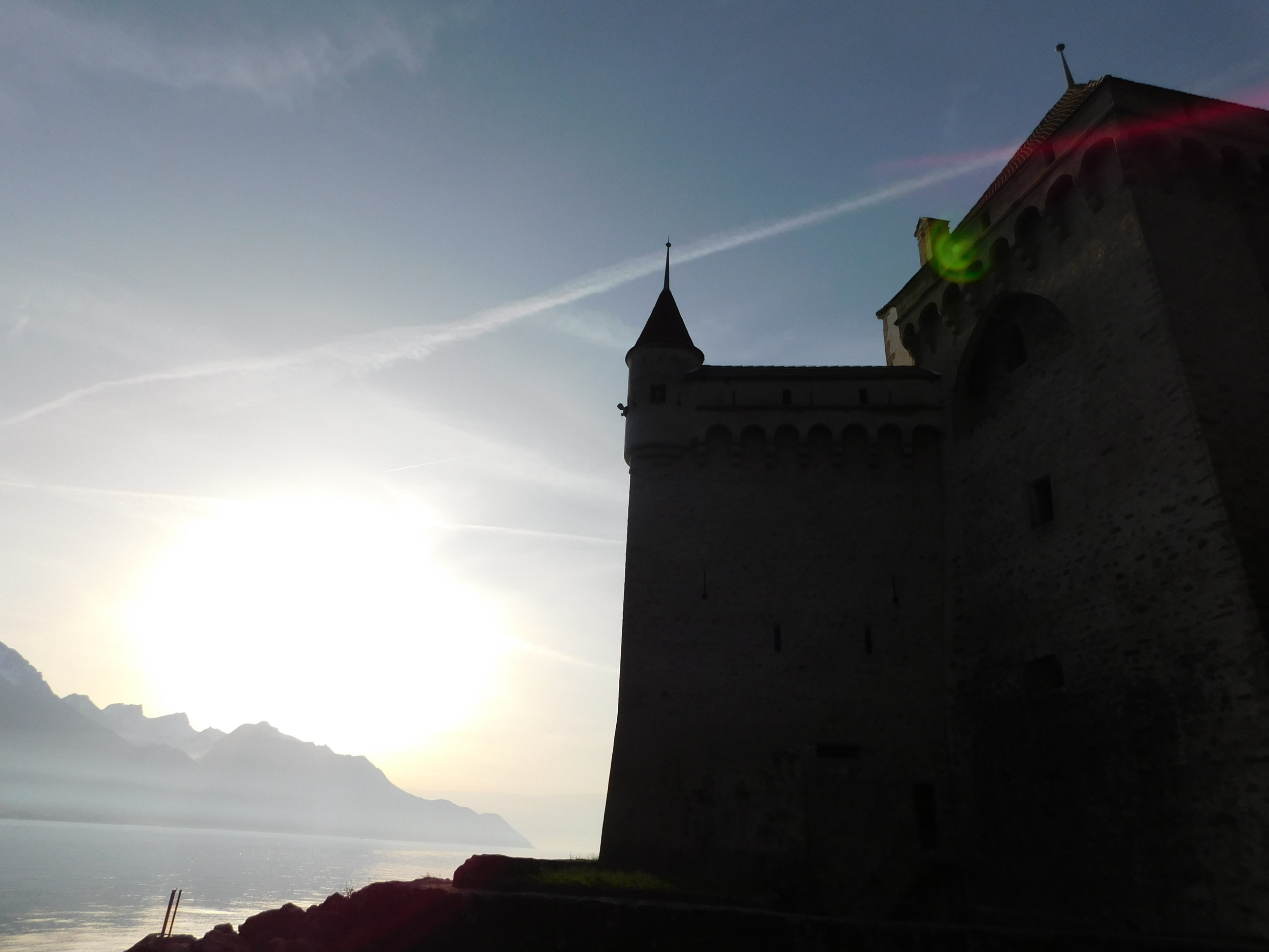 View of the Swiss Castle and the Bay (spot the Alley Cat waving from the window!)