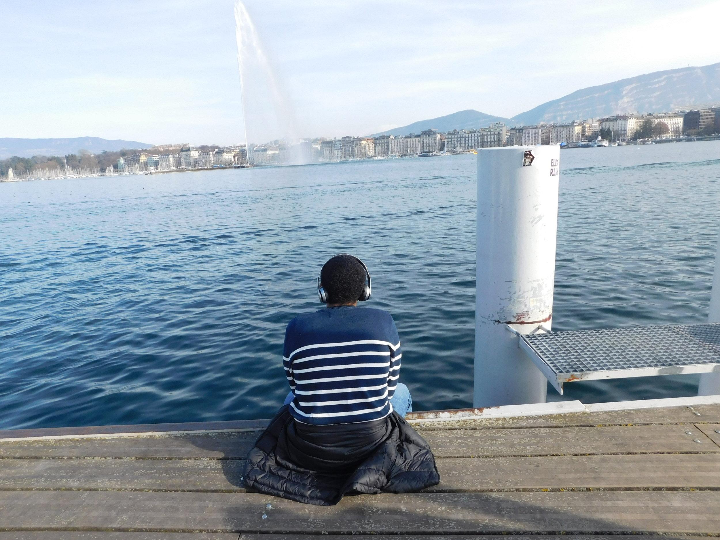 Tyler enjoying a peaceful moment by Lake Geneva