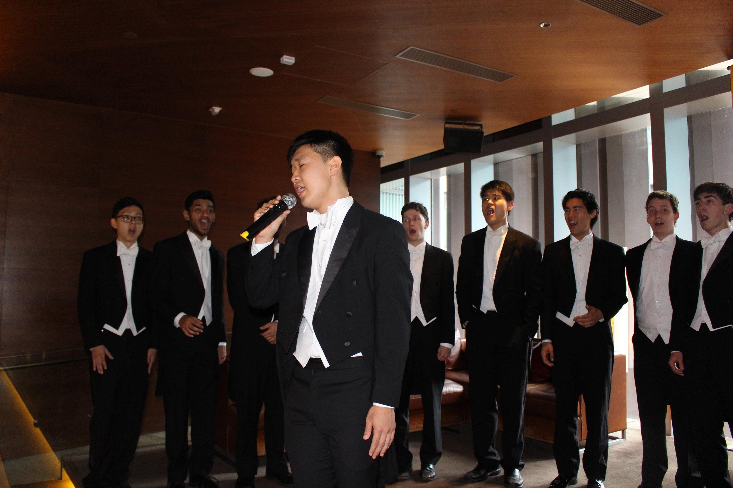 Arthur ('20) singing at Zuma in Hong Kong!