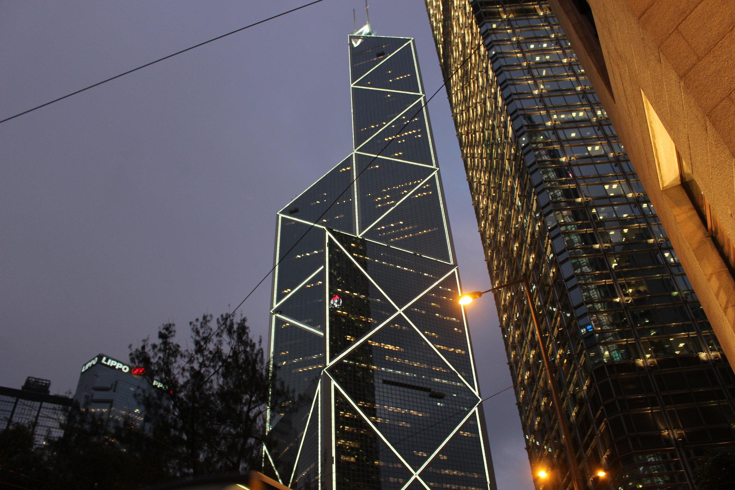 Walking past the Bank of China tower