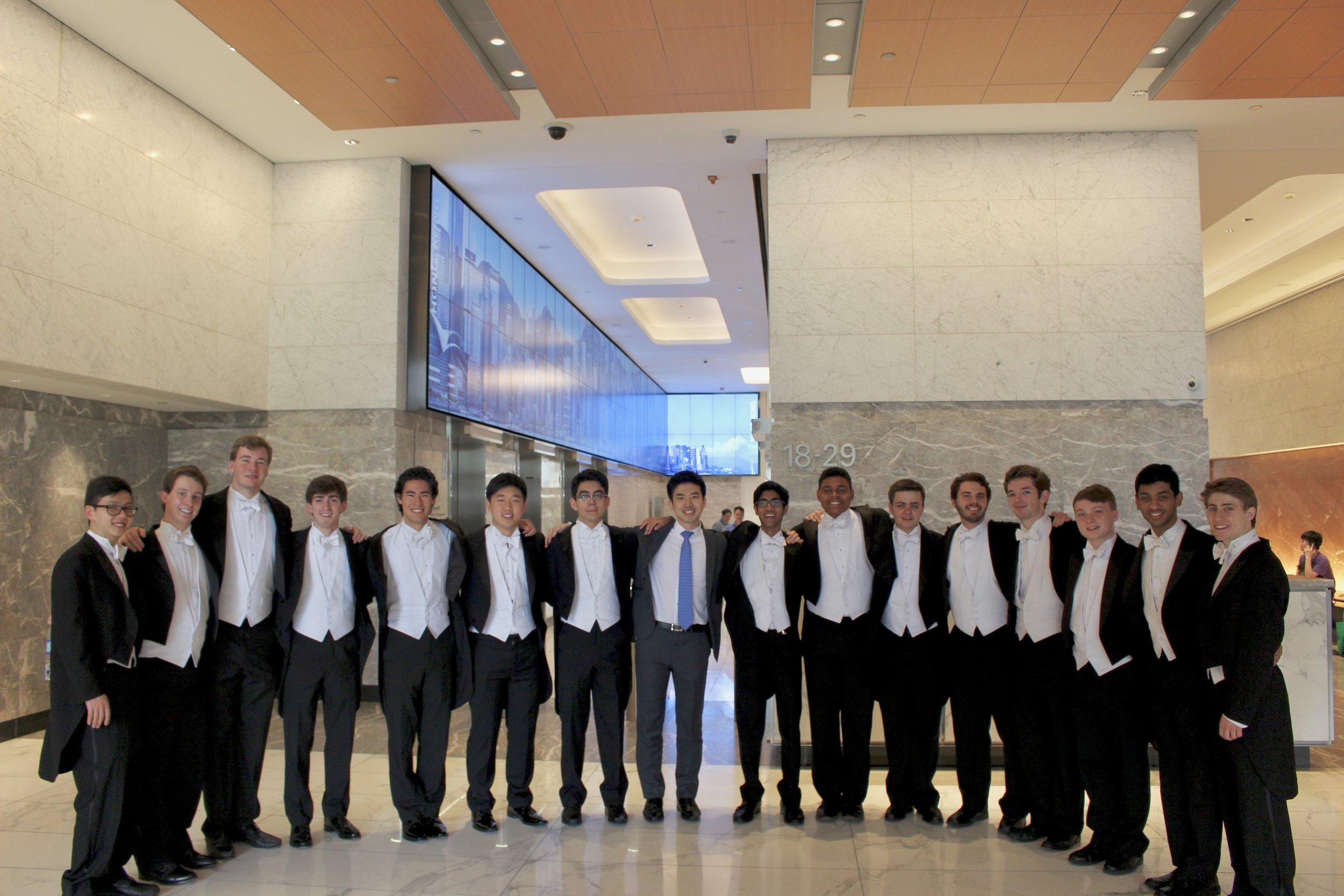 The Cats perform at J.P. Morgan Bank with alumnus Kyeong-Sik Seoung ('15)