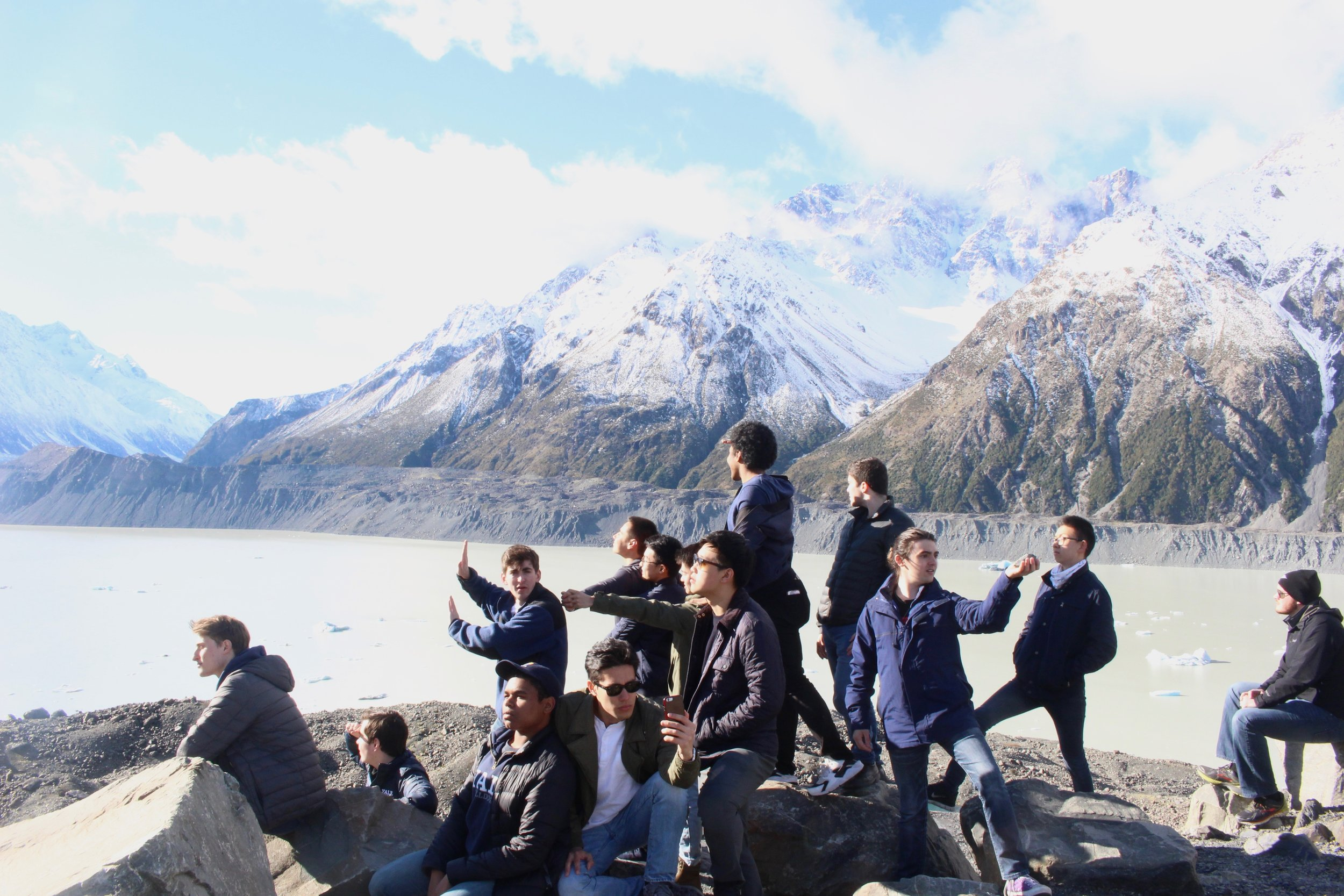 The Cats striking poses on a hike in New Zealand, Summer Tour 2018