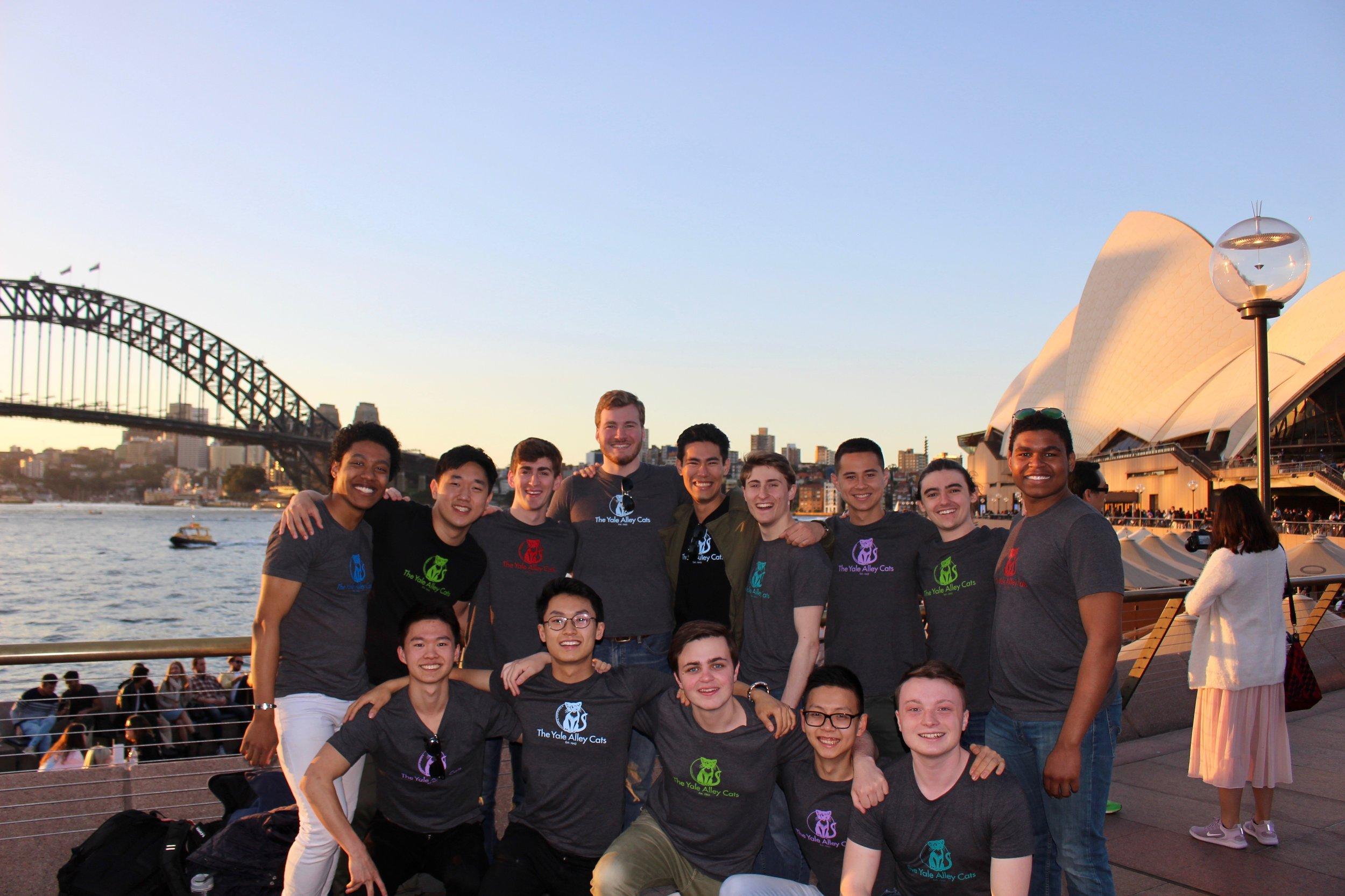 Group photo by the Sydney Opera House and Harbor Bridge