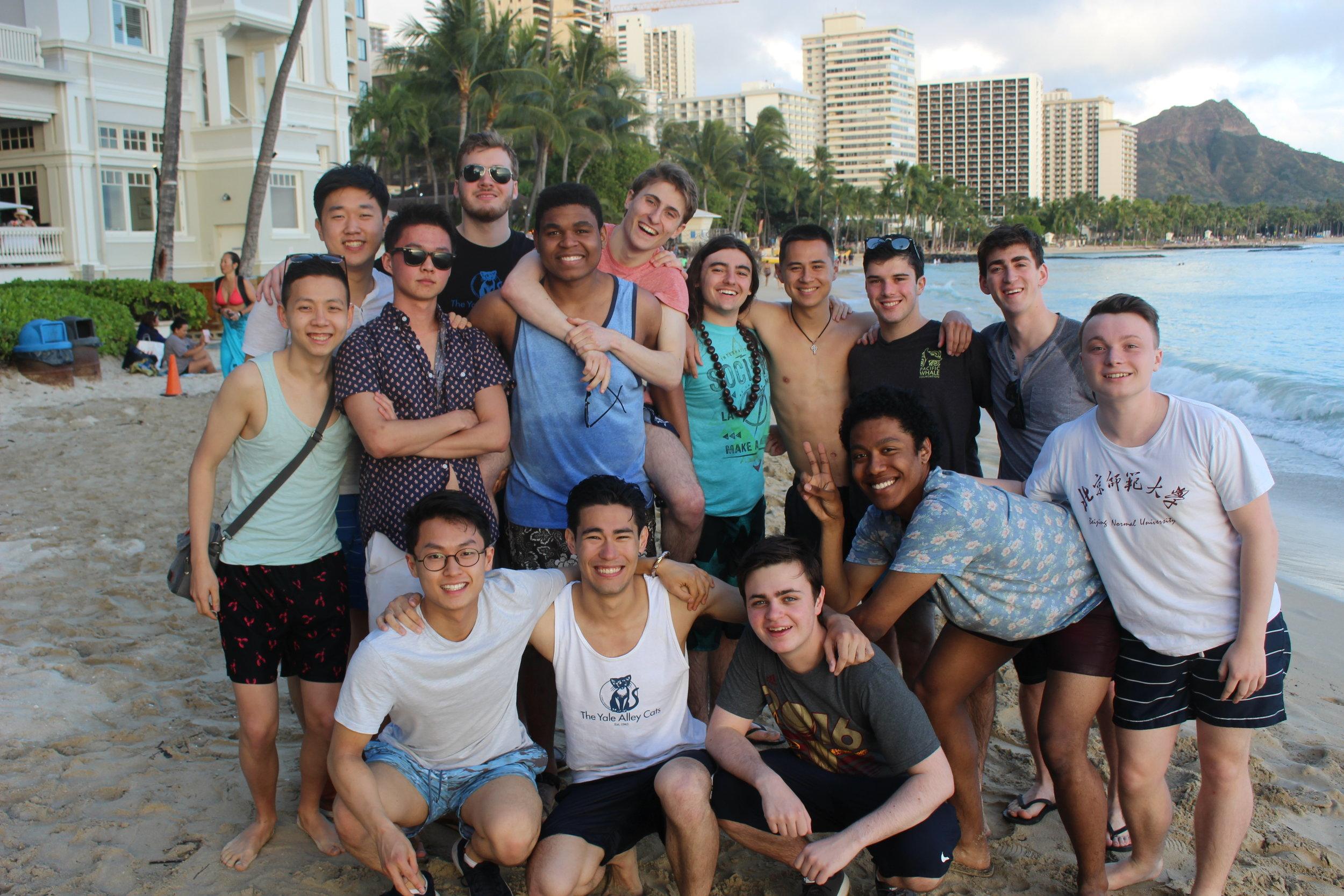 Group photo on Waikiki Beach in Honolulu