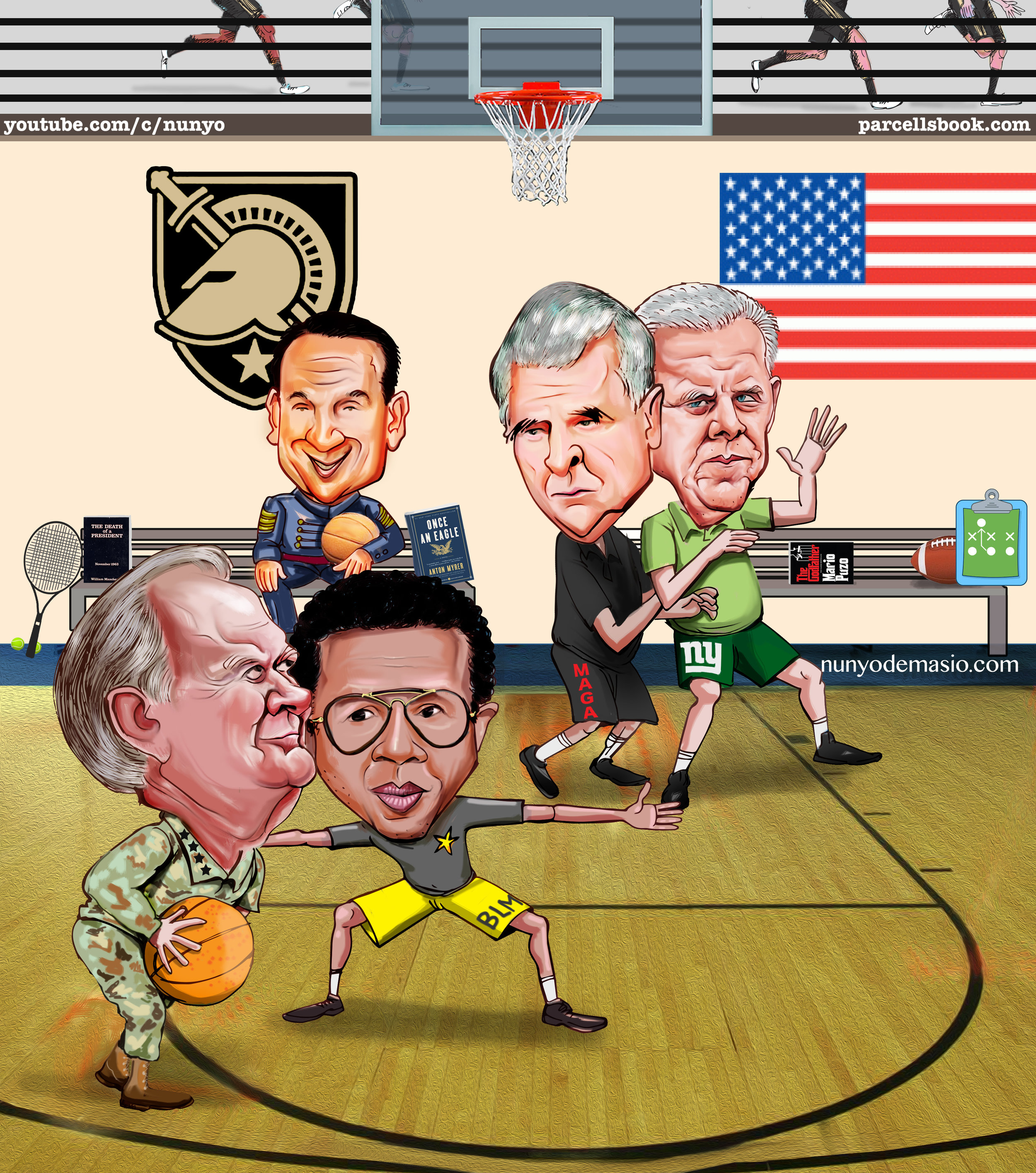 THROWBACK: West Point, NY. 1967: Bill Parcells and Norman Schwarzkopf versus Arthur Ashe and Bobby Knight in pick-up basketball. Make 'em, take 'em for 10 buckets. The future Coach K witnessed it all. What a sight!  Watch this video Q&A of David Stern to learn more about the legendary hoop games as detailed in the Parcells book.