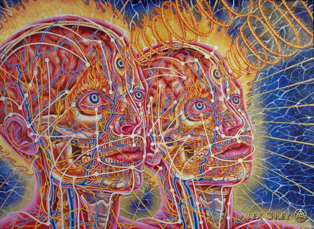 """ New Man, New Woman, "" Alex Grey, 1984, oil on linen, 24 x 30 inches"