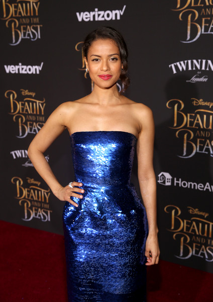 Gugu Mbatha-Raw at her premiere of 'The Beauty and the Beast""