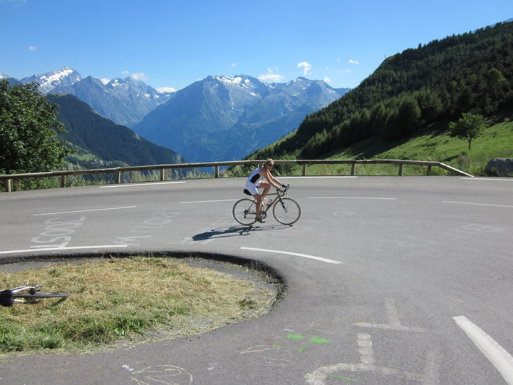 Clare on one of the final hairpins, Alpe d'Huez