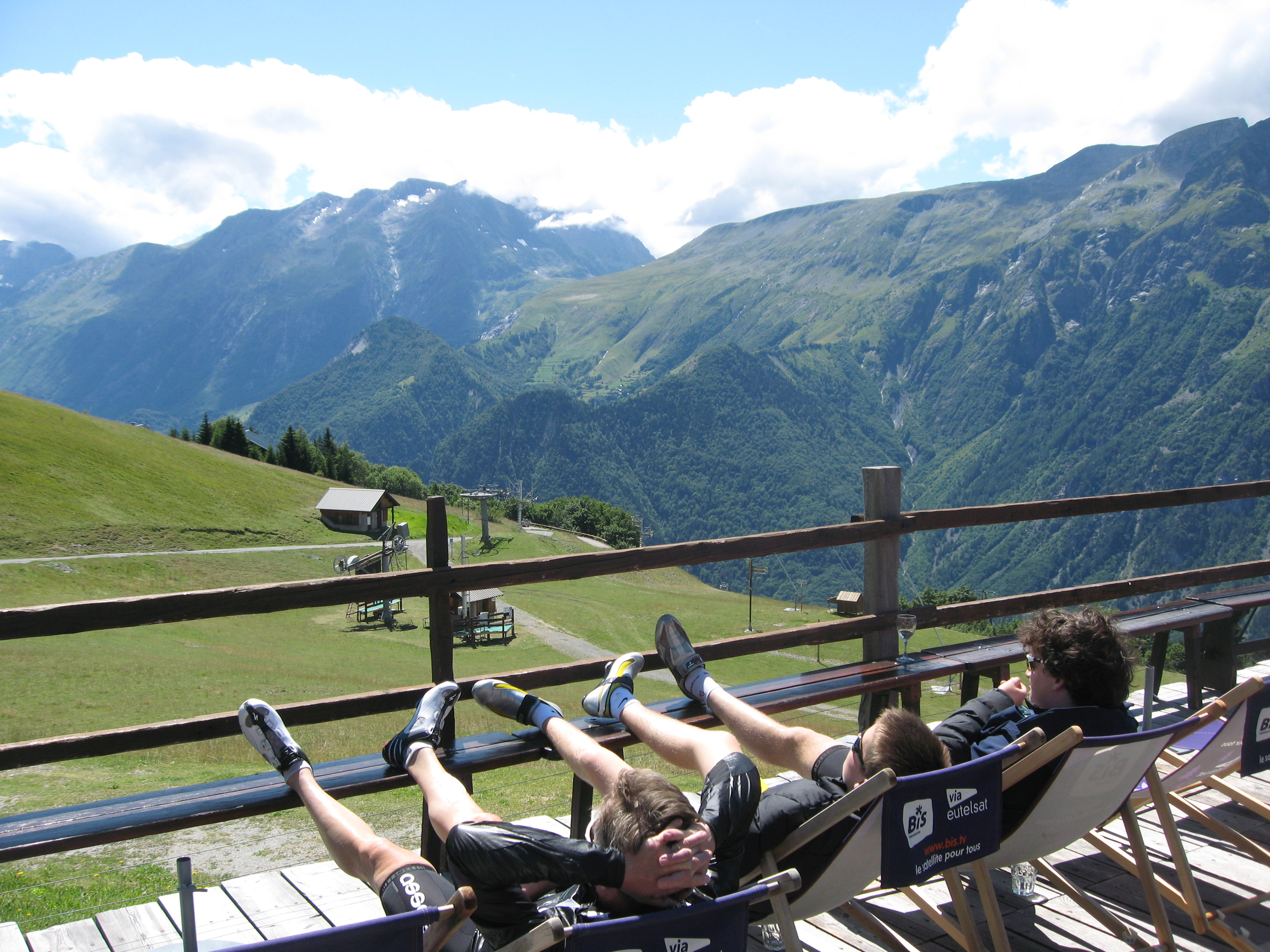 The view from one of my favourite little restaurants in the French Alps, hiding along a dirt road, high above Bourg d'Oisans