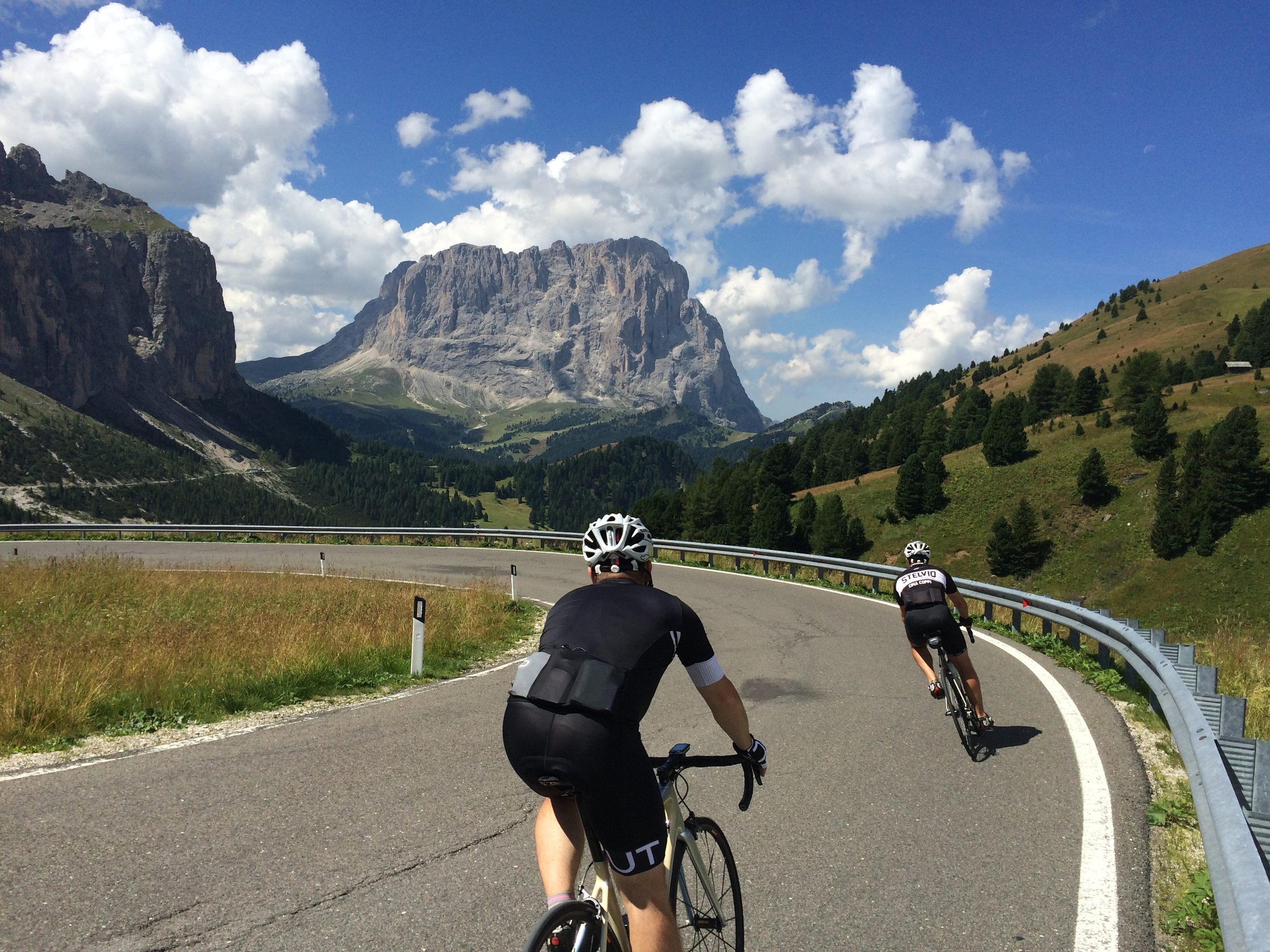 Descending the spectacular Passo Gardena in the Dolomites
