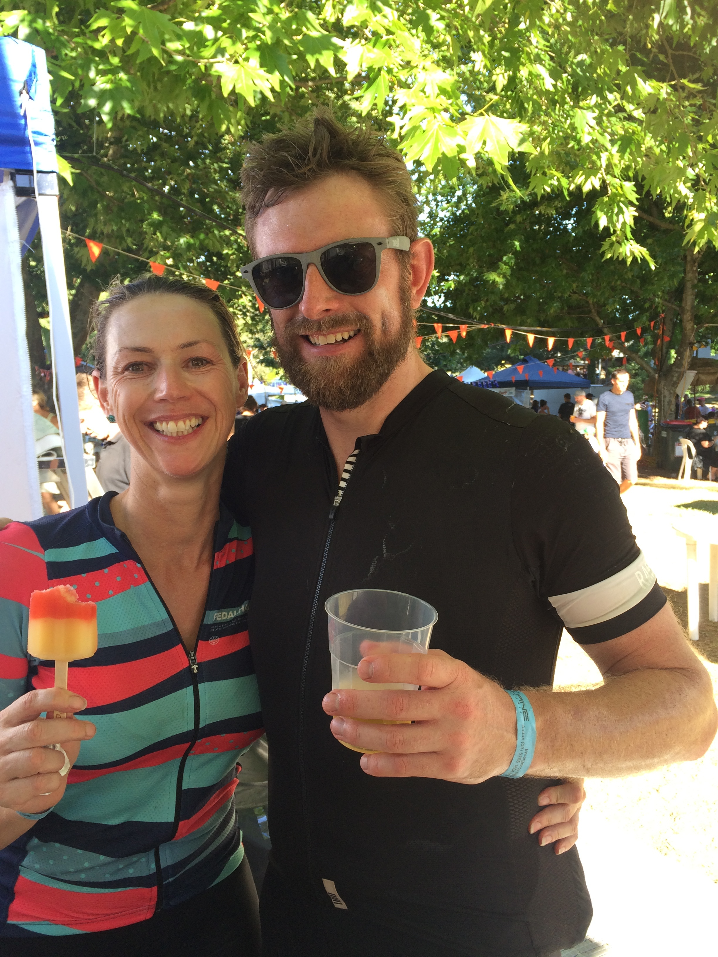 Chantelle and Ash re-hydrating after the big 200km Classic!