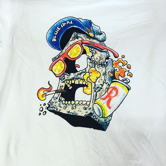 cinder hesher white t shirts will be in stores soon. #bluecollarskateboards #cmyk #22point5degrees art by @jerryfowls