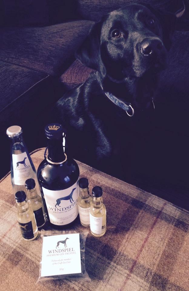 windspiel gin and tonic set dog