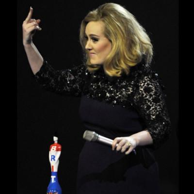 Adele off screen finger swear brit awards speech