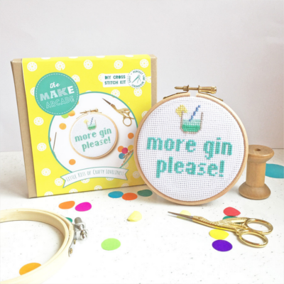 More Gin Please cross stitch kit gift present