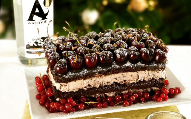 Gin soaked black forest gateau cake
