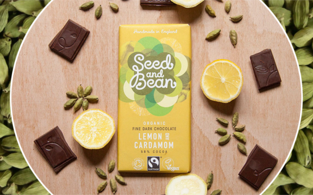 Seed and Bean Lemon and Cardamom chocolate bar
