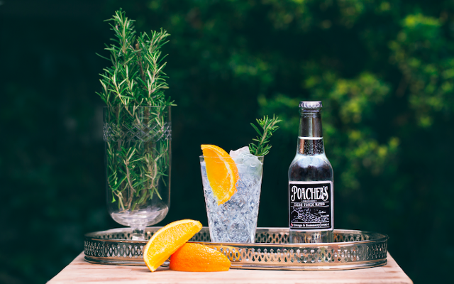 Poacher's Gin and tonic with orange and rosemary