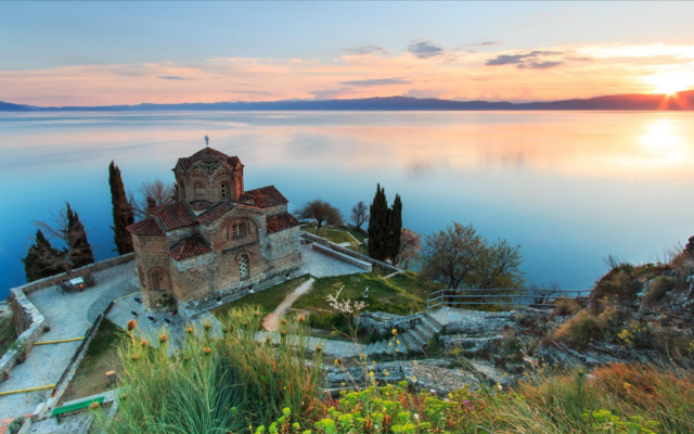 Macedonian castle over looking lake