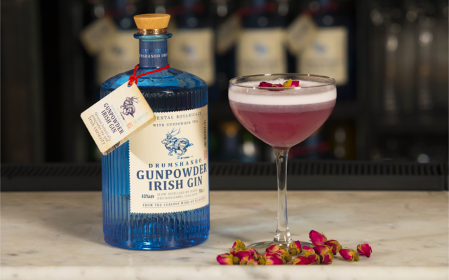 Irish Gunpowder gin purple and rose irish spring cocktail