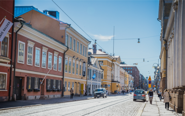City street in Helsinki Finland