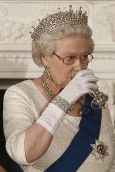 Queen Elizabeth Drinking Gin