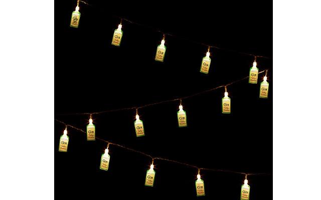 Gin bottle string lights