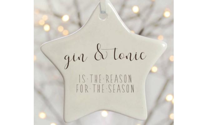 Ceramic Gin and Tonic christmas tree decoration