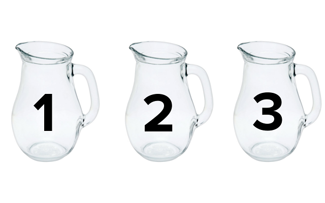 Glass pitchers numbered