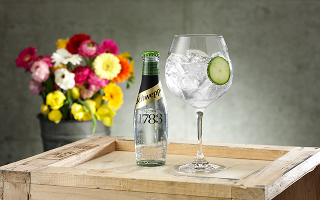 Schweppes Cucumber tonic and g&T with cucumber slice