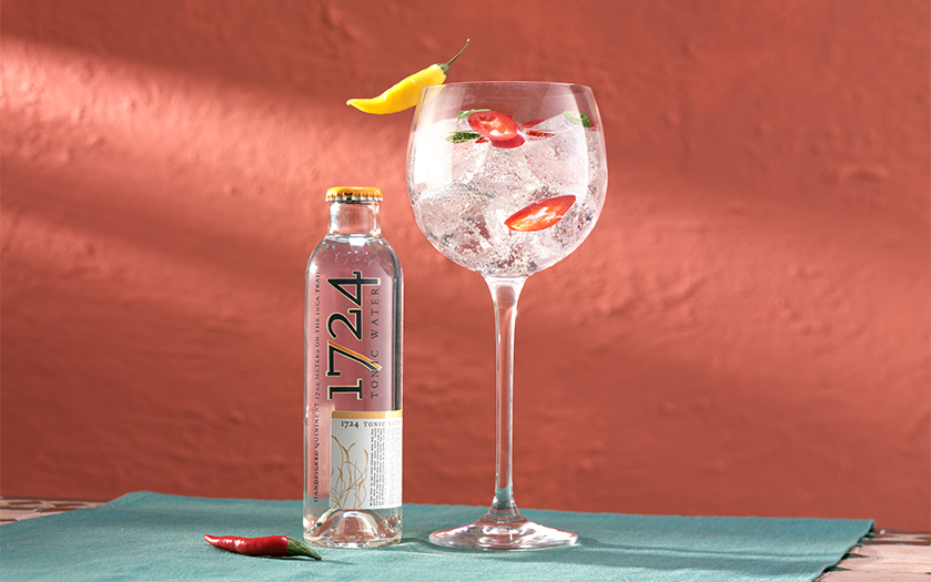 gin and tonic with chilli slices garnish