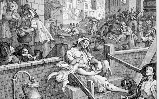 'Gin Lane' by William Hogarth was published in 1751 in protest against the uncontrolled production and sale of cheap, dangerous gin.