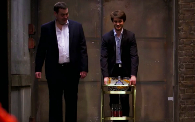 Jon and John nervously arrive at their pitch with their gin trolley in hand.