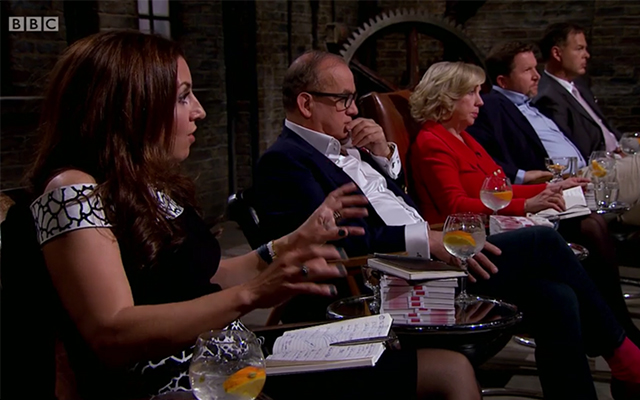 The Dragons listen to the Craft Gin Club pitch. Credit: BBC2