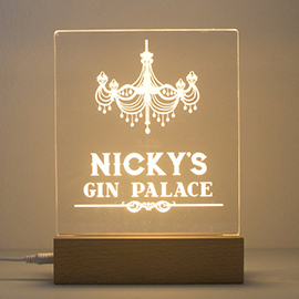 Personalised Gin Palace LED sign with wooden base.jpg
