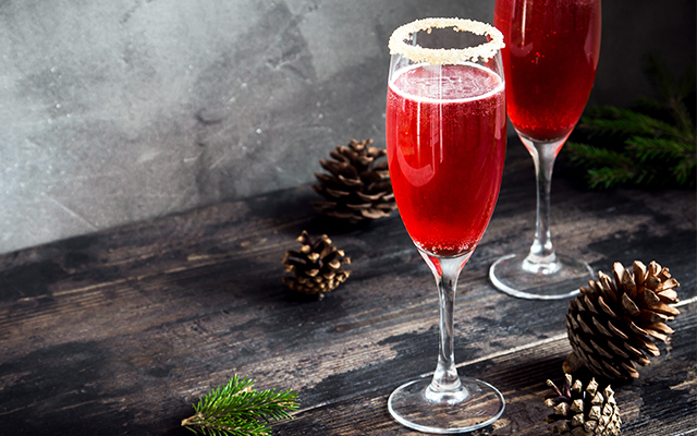 This festive sparkling cocktail combines gin, prosecco and cherry brandy!