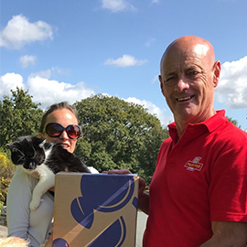 """""""Postman Pat, Postman Pat, Chloe L, and her black and white cat!""""    Craft Gin Club member, Chloe's amazing postie (and yes his name really is Pat!) joined in the fun of box delivery day this month!"""