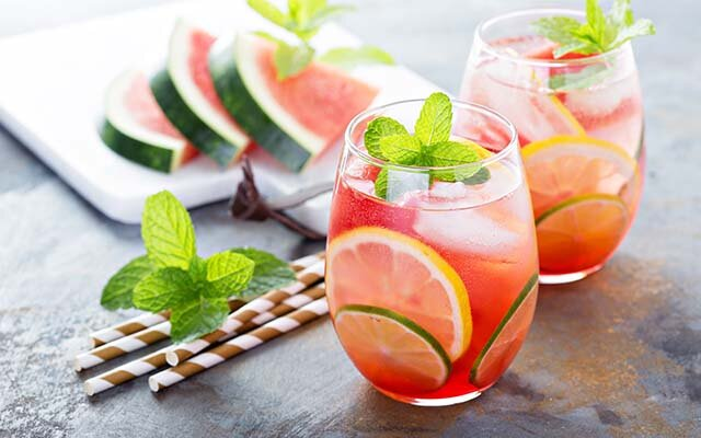 A refreshing watermelon gin and tonic, garnished with a sprig of mint and a few slices of lemon and lime