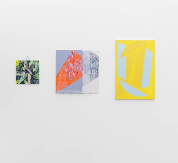 Fully Awake , Blipblipblip Gallery, Leeds [left] Monologue , oil and acrylic on aluminium panel, with nylon rope. [middle] Moyra Derby [right] Vanessa Jackson