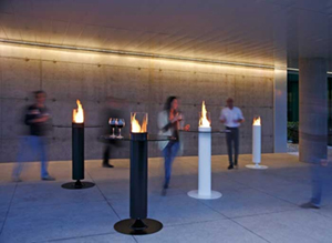A collaboration between Acquaefuoco and A.S. created the Apollo fireplace, a collection of simply shaped bioethanol fireplaces designed for outdoors. The shaped base is properly designed to diffuse sound. A powerful A.S. speaker is housed in the overhead cylinder, which also contains the burner. Thank to the emission system the sound is spread in a very natural way, giving an involving and hearty sense of relax. These are elements that exalt fire and evoke the pleasure and harmony of being together. The collection is divided into fireplaces suitable for domestic use and those for bars, restaurants and hotels.