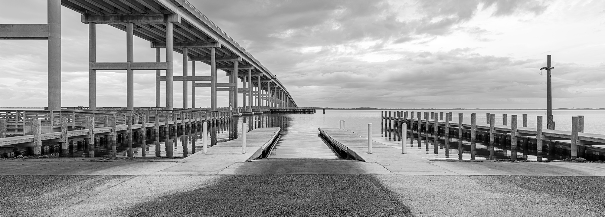 Boat Ramp, Washington Baum Bridge, Roanoke Island, NC.