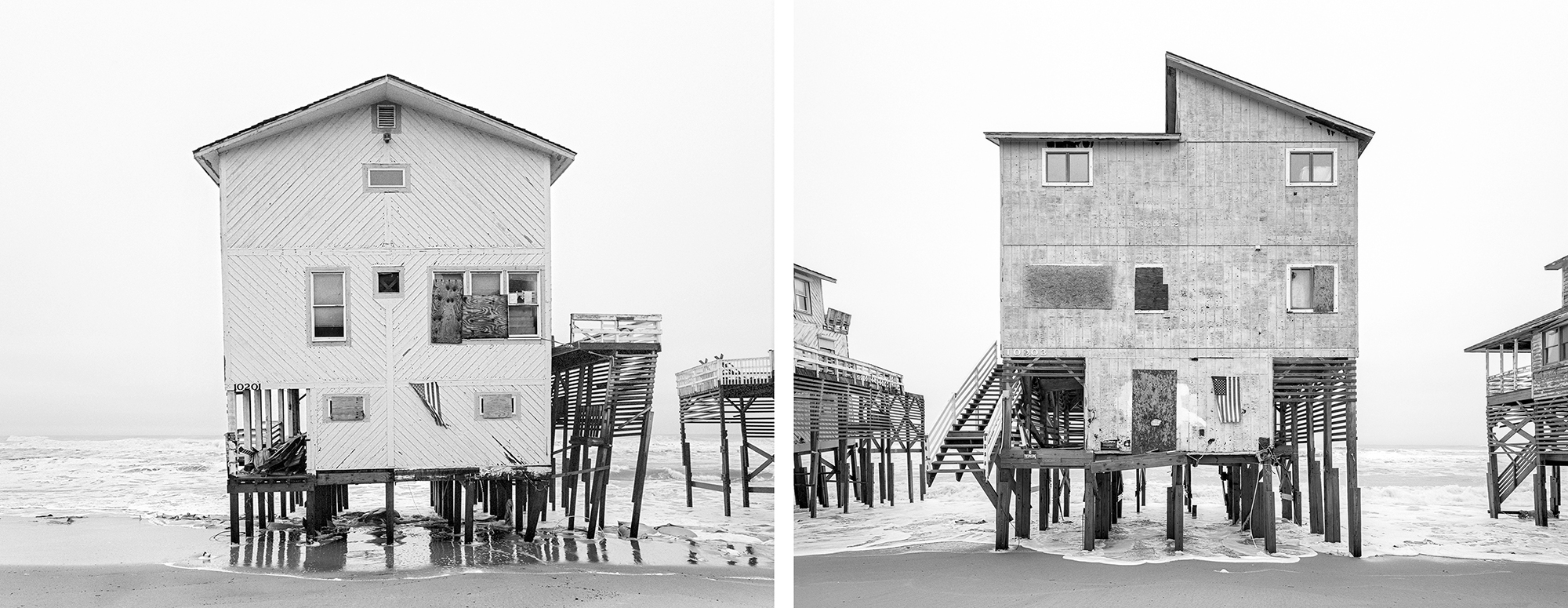 Condemned houses on E Seagull Dr in South Nags Head, NC. December 2014.
