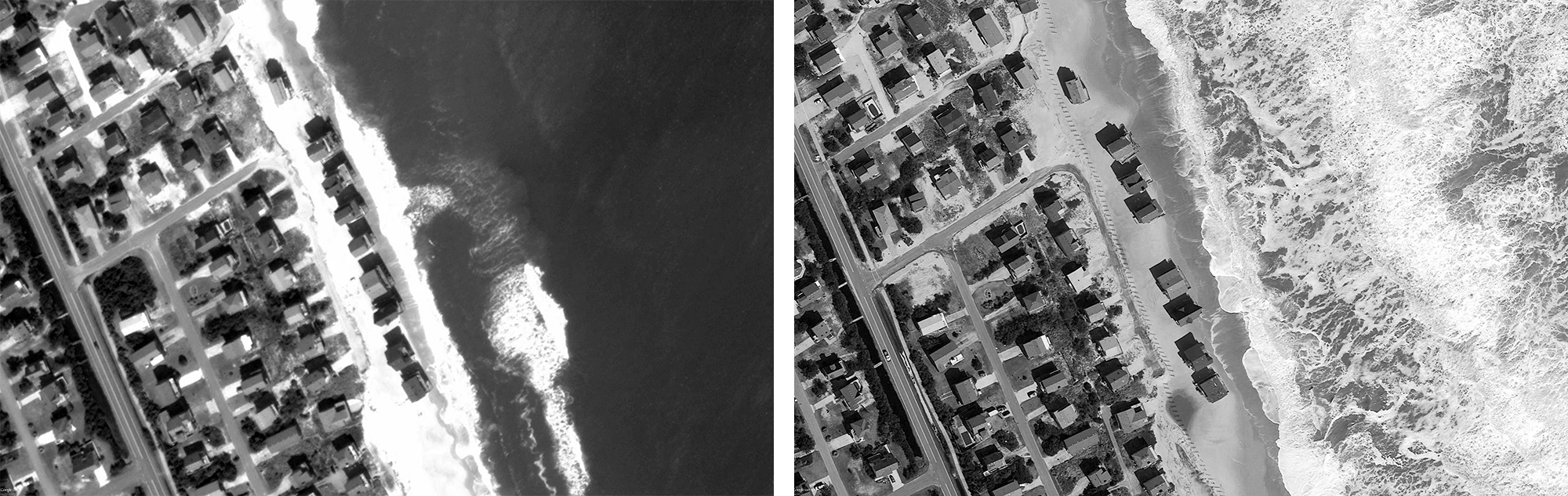 Satellite images of E Seagull Dr, March 2011 on left and March 2013 on right.