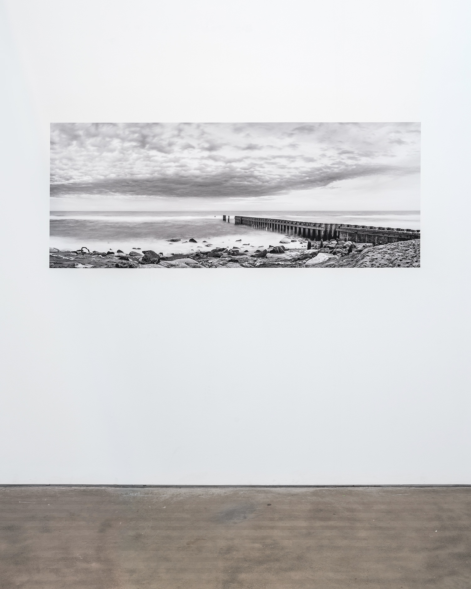 "Installation View of ""Old Lighthouse Beach,"" Buxton, NC, 2016, 30"" x 76.5"" Digital Print on Vinyl"