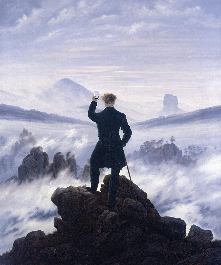 Illustrations by Kim Dong-kyu .Based on:Wanderer Above the Sea of Fog,by Caspar David Friedrich (1818).