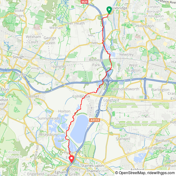 The course of the Colne Brook from Uxbridge to Staines