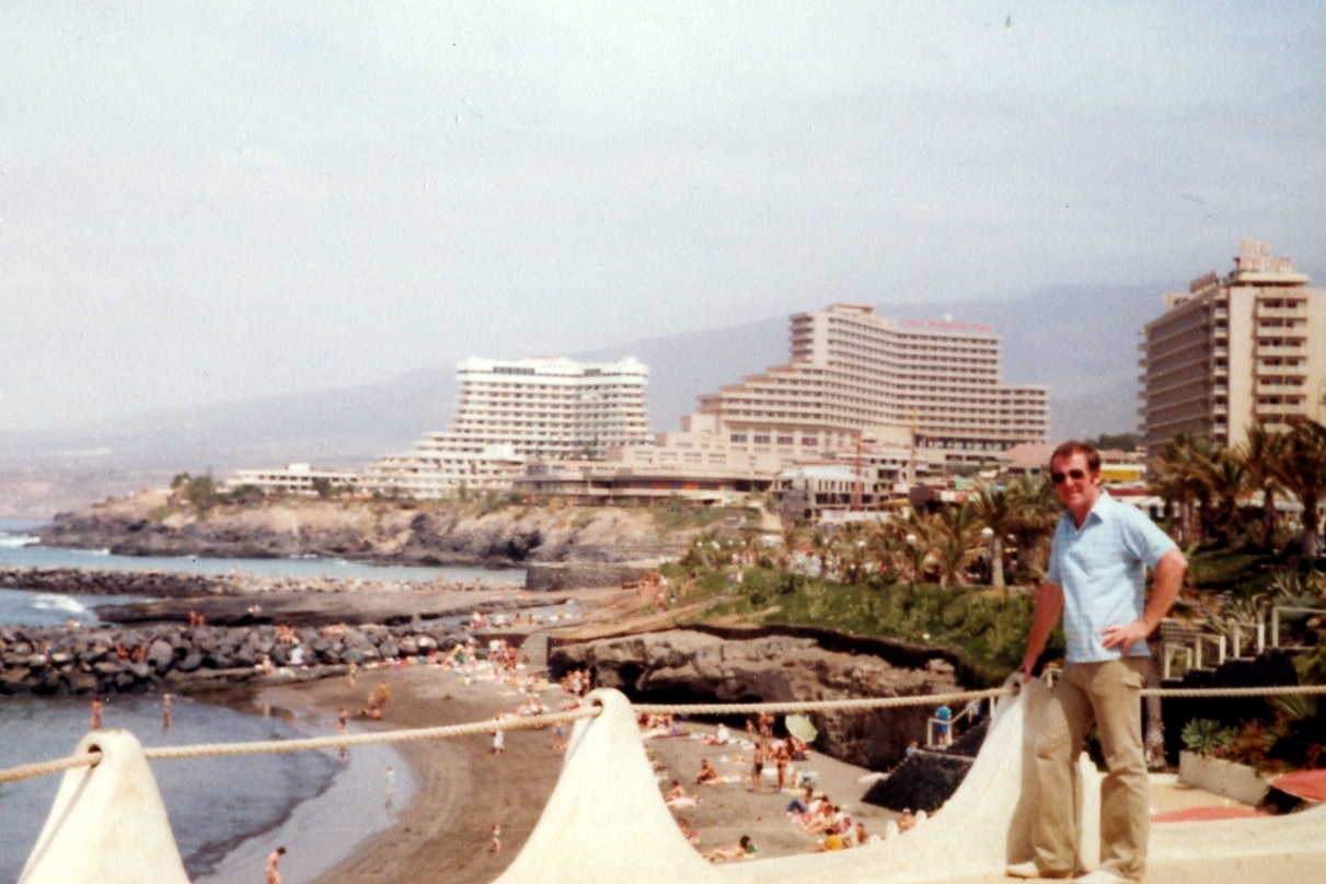 Dad: view to Villamar, Bouganville Playa and Gran Tinerfe - early 1980s