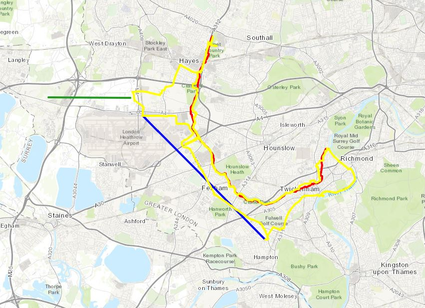 Red = course of the River Crane, Yellow = cycle route, Blue = Hounslow Baseline. Green = (approx) future site of proposed Heathrow 3rd runway